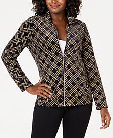 Karen Scott Paige Plaid Velour Jacket, Created for Macy's