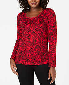 Karen Scott Paisley-Print Long-Sleeve Top, Created for Macy's