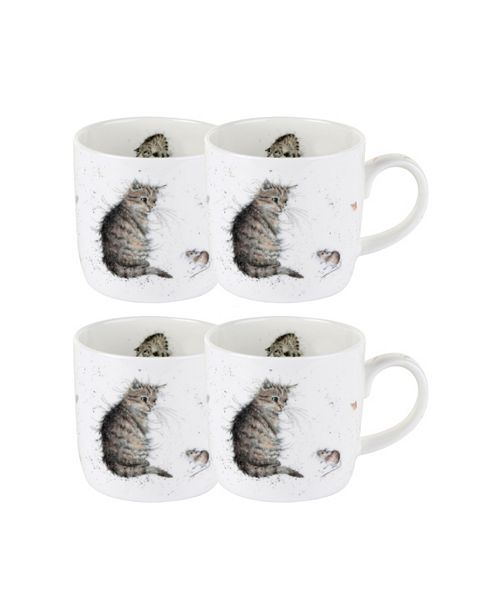 """Royal Worcester Wrendale Cat Mug """"Cat and Mouse""""  Set of 4"""