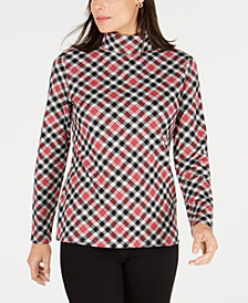 Karen Scott Sunday Plaid Printed Turtleneck, Created for Macy's