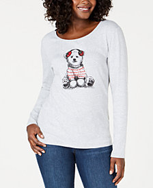 Karen Scott Petite Holiday-Bear Graphic Top, Created for Macy's