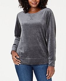 Karen Scott Velour Sweatshirt, Created for Macy's