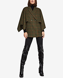 BCBGMAXAZRIA Windowpane Cape-Sleeve Jacket