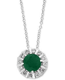 "EFFY Emerald (3/8 ct. t.w) & Diamond (1/4 ct. t.w) 18"" Pendant Necklace in 14K White Gold (Also Available in Sapphire, Certified Ruby & Tanzanite)"