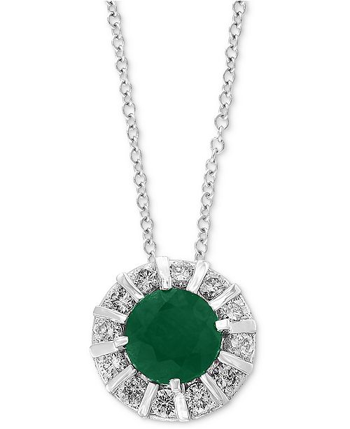 """EFFY Collection EFFY Emerald (3/8 ct. t.w) & Diamond (1/4 ct. t.w) 18"""" Pendant Necklace in 14K White Gold (Also Available in Sapphire, Certified Ruby & Tanzanite)"""