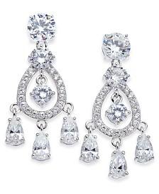 Eliot Danori Silver-Tone Stone & Crystal Chandelier Earrings, Created for Macy's