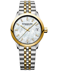 RAYMOND WEIL Women's Swiss Freelancer Two-Tone PVD Stainless Steel Bracelet Watch 34mm