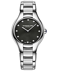 RAYMOND WEIL Women's Swiss Noemia Diamond-Accent Stainless Steel Bracelet Watch 32mm