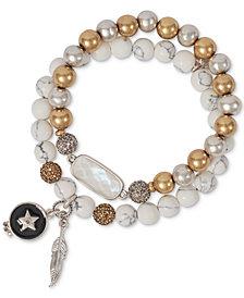 Lucky Brand Two-Tone 2-Pc. Set Pavé & Stone Beaded Stretch Bracelets