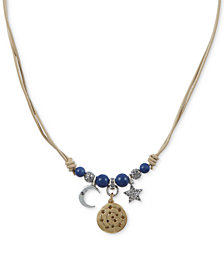 "Lucky Brand Two-Tone Crystal & Bead Leather Cord Celestial Charm Necklace, 16-1/2"" + 2"" extender"