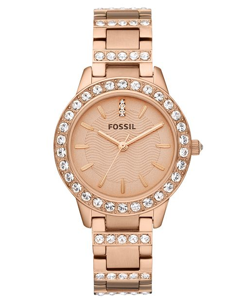 Fossil Women's Jesse Rose Gold-Tone Stainless Steel Bracelet Watch 34mm ES3020
