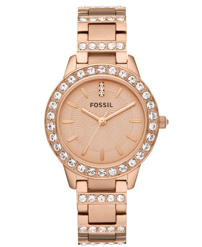 Fossil - Women's Jesse Rose Gold-Tone Stainless Steel Bracelet Watch 34mm ES3020