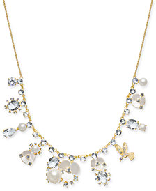 "kate spade new york Gold-Tone Crystal, Imitation Pearl, Flower & Bird Collar Necklace, 16"" + 3"" extender"
