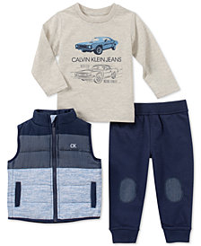 Calvin Klein Toddler Boys 3-Pc. Vest, Shirt & Joggers Set