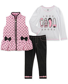 Kids Headquarters Little Girls 3-Pc. Vest, T-Shirt & Denim Leggings Set