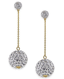 kate spade new york Gold-Tone Pavé Orb Linear Drop Earrings