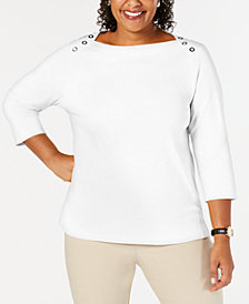 Karen Scott Button Shoulder Knit Top, Created for Macy's