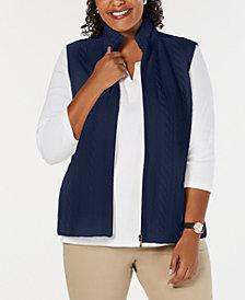 Karen Scott Plus Size Sherpa-Collar Vest, Created for Macy's