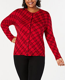 Karen Scott Plus Size Placed Floral-Print Cardigan, Created for Macy's