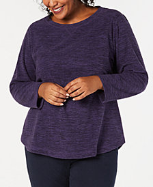 Karen Scott Plus Size Microfleece Long-Sleeve Top, Created for Macy's
