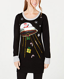 Hooked Up by IOT Juniors' Sequined Outer Space Sweater Dress