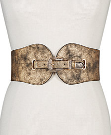Steve Madden Metallic Tooled Stretch Belt