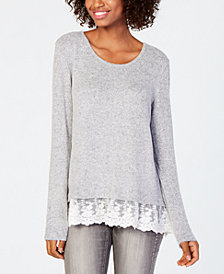 BCX Juniors' Lace-Hem Sweater