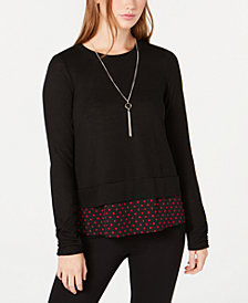 BCX Juniors' Layered-Look Necklace Top