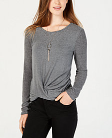 BCX Juniors' Knot-Detail Removable-Necklace Top