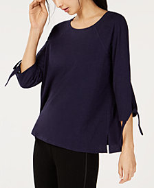 Eileen Fisher Organic Cotton Tie-Sleeve Top
