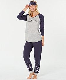 Jenni by Jennifer Moore Knit Pajama Top, Pants & Eyemask Set, Created for Macy's