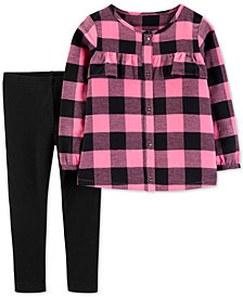 Carter's Toddler Girls 2-Pc. Flannel Plaid Top & Leggings Set