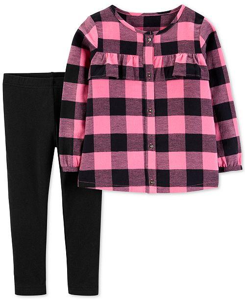 4af8dd39025 Carter s Toddler Girls 2-Pc. Flannel Plaid Top   Leggings Set - Sets ...