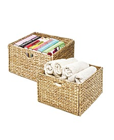 Woven Hyacinth Storage Cube Basket, Set Of 2
