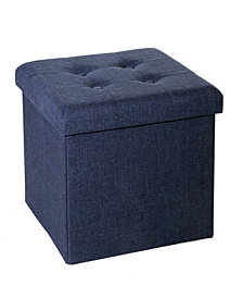 Foldable Tufted Storage Ottoman