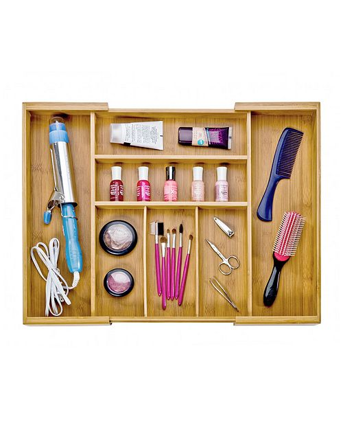 d6e368f66e7 ... Seville Classics Bamboo Expandable 7 Compartment Flatware Utensil  Cutlery Drawer Tray Organizer ...