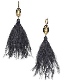 kate spade new york Gold-Tone Pavé Penguin & Feather Tassel Drop Earrings