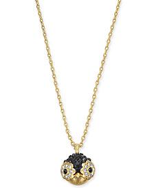 "kate spade new york Gold-Tone Pavé Penguin Pendant Necklace, 16"" + 3"" extender"