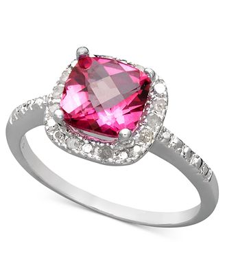 Victoria Townsend Sterling Silver Ring, Pink Topaz (1-3/4 ct. t.w.) and Diamond (1/10 ct. t.w.) Cushion Cut Ring