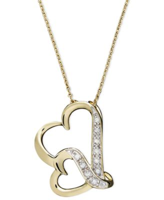 Double Wavy Heart Diamond Pendant Necklace in 18k Gold over Sterling Silver (1/10 ct. t.w.)