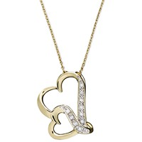 Deals on Macy's Double Wavy Heart Diamond Pendant Necklace in 18k Gold