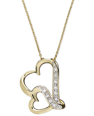 Double wavy heart diamond pendant necklace in 18k gold over double wavy heart diamond pendant necklace in 18k gold over sterling silver 110 aloadofball Choice Image