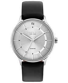 Men's Diamond-Accent Black Leather Strap Watch 40mm