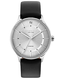Kenneth Cole New York Men's Diamond-Accent Black Leather Strap Watch 40mm