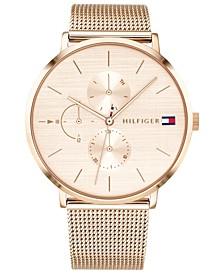 Women's Carnation Gold-Tone Stainless Steel Mesh Bracelet Watch 40mm Created for Macy's