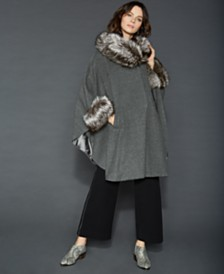The Fur Vault Fox-Fur-Trim Cape