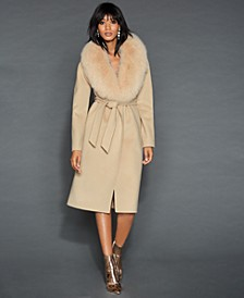 Fox-Fur-Collar Wool Coat
