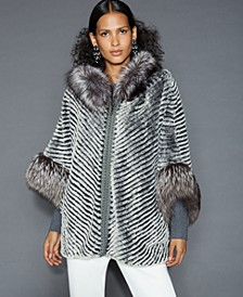 Fox-Fur-Trim Rabbit Jacket