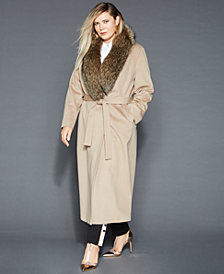 The Fur Vault Plus Size Fox-Fur-Collar Wool Coat