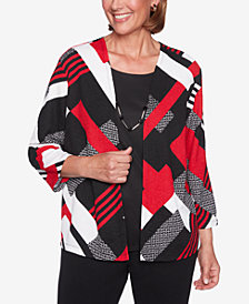 Alfred Dunner Sutton Place Layered-Look Patchwork-Print Top